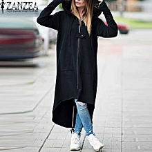 7e466fdad2c38d ZANZEA Hooded Jacket Long Sleeve Zipper Drawstring Asymmetric Loose Casual  Long Sweatshirt Black Draw Grey Women