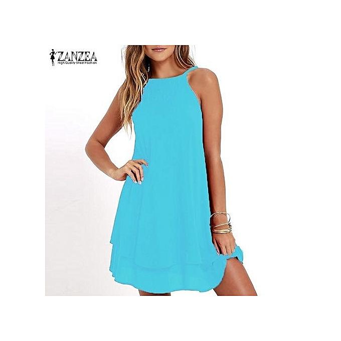 6f184e64f7a ZANZEA Women Strappy Loose Casual Solid Short Mini Dress Summer Beach Dress  Plus (Sky Blue