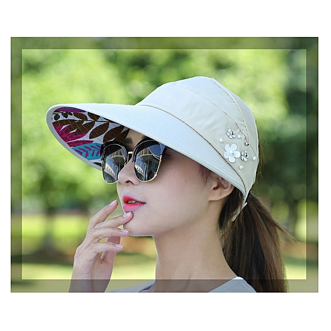 a9ca6cc82 New Foldable women summer beach Sun Hats pearl packable Adult sun visor hat  big heads wide brim UV protection female cap(3)