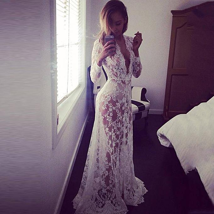 53a56e1083 Sexy Women Beach Long Dress Deep V Neck Lace Cover Up Transparent Maxi Dress  Beige