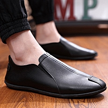 42d8512759 Leather Mens Loafers Fashion Handmade Moccasins Cow Leather Men Flats Black  Blue Slip On Male Boat