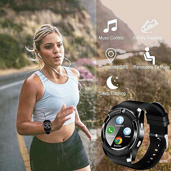V8 Smart Watch Smartwatch Women/Men Phone Clock Call SIM TF CamClock  Support BT 4 0 For Android Round Watch (Black) XJMALL