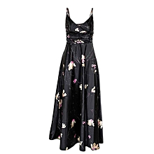 Black Flowered Sleeveles Cami Dress With Pink & Beige Prints