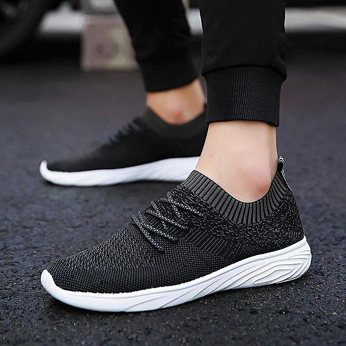 385545d9ac65d0 Men Fashion Solid Mesh Sewing Cross Tied Flat Gym Shoes Casual Running Shoes