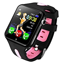 Children Anti-lost GPS Tracker Locator Smart Watch SOS GSM Phone Kid Baby Touch Screen Smartwatch Support SIM For Android IOS(Black+Pink)