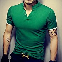 Hot Men's Tops Tees summer new polo shirt collar short sleeve t shirt men fashion  t shirt size M/X/5XL-green