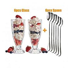 Milkshake/Ice Cream Sundae Glasses Plus 6pcs Long Spoons - Set of 6