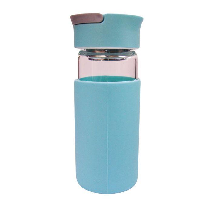 Water Bottle Kenya: ARKMAN Glass Water Bottle - 370ml - Light Blue