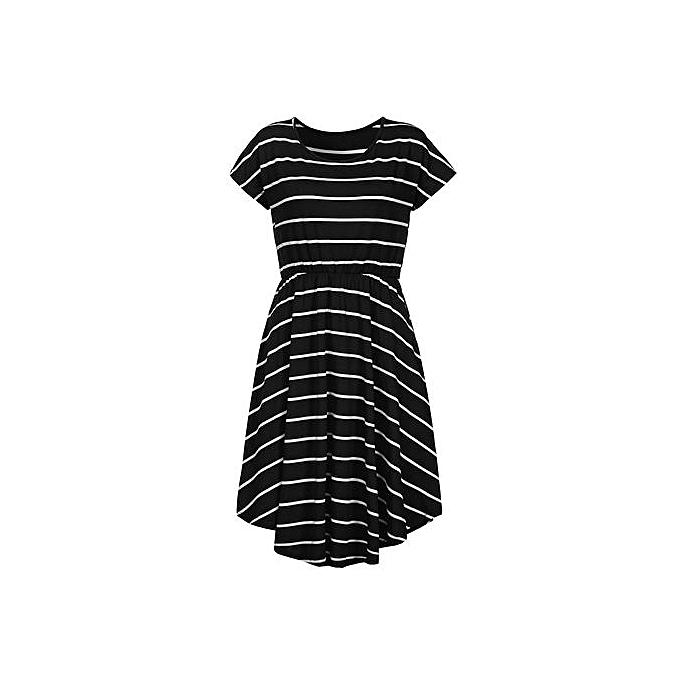e96eae57ff11 ... Hiaojbk Store Women's Casual Short Sleeve Elastic Waist Striped Dress  With Pockets-Black
