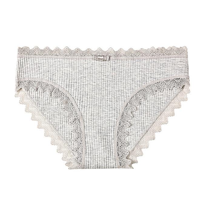 8faadd6fa0b4 Sweet girl underwear female cute seamless underwear lace side student  cotton briefs-grey