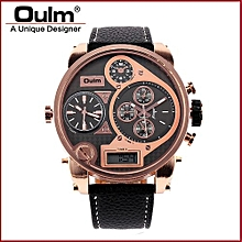 Watches, 9316B Male Clock 3 Time Casual Leather LCD Display Sports Fashion Quartz Men Watch