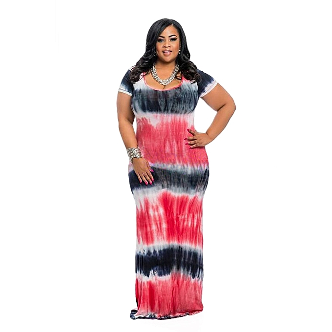 e55e9a51455f6 Summer Large Plus Size Women Dress Short Sleeve Tie Dye Dresses Large Size  Loose Casual Maxi Long Dress African Clothing - red