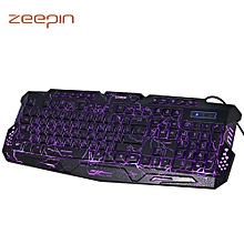 ZEEPIN M - 200 3 Colors Backlight Wired Gaming Keyboard-BLACK