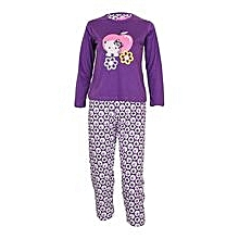 Purple Girl's Pajamas With Kitten