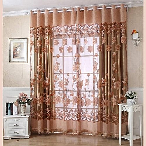 Generic Technologg Home Decor 250cmx100cm Print Floral Voile Door