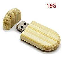 Bamboo USB Flash Drive Computer External Storage Device USB2.0 Memory Stick beige