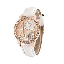 Luxury Crystal Eiffel Tower Leather Watch Ladies Women Watches -White
