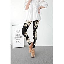 All-matchFashion Floral Patterned Printed Leggings Pencil Pants Women Lady Strech Skinny Pants Trousers (Color: Black)