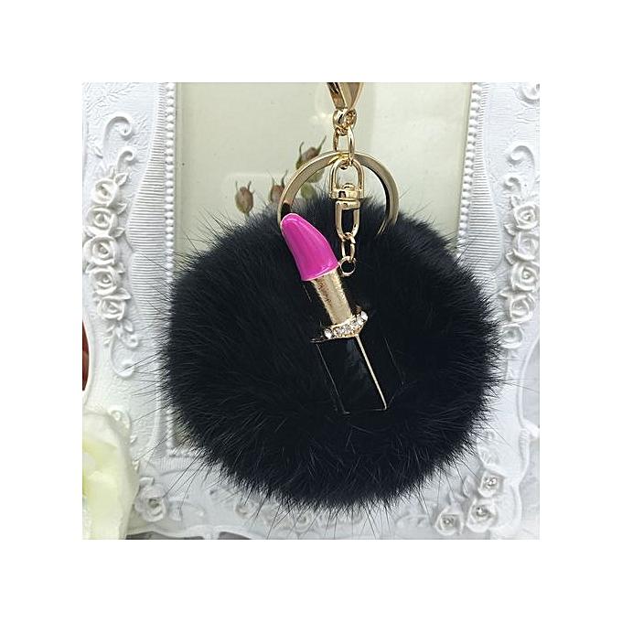 Braveayong Fluffy Faux Rabbit Fur Ball Bowknot Charm Car Keychain Handbag Key  Ring BK -Black 6ed0d6c11