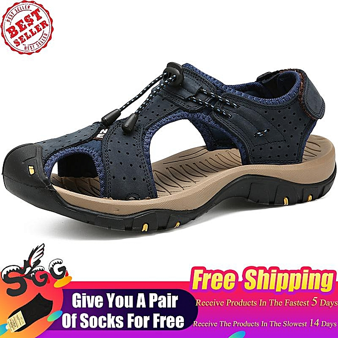 9d3bb5385e94 2019 Fashion SGG Mens Leather Sandals Outdoor Hiking Sports Sandals  Lightweight Athletic Sandals Fisherman Beach Shoes