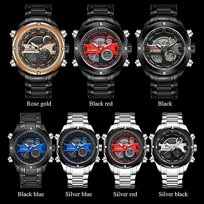 8094af74a86 ... Naviforce Men 30M Waterproof Watch Full Stainless Steel Analog Digital  Display LED Watches Mens Military Clock