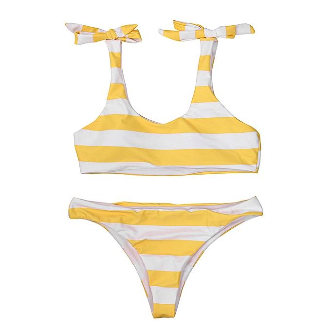 baae162922a9 Xingbiaocao Women Push-Up Padded Bra Beach Bikini Set Swimsuit Sexy Stripe  Swimwear -Yellow