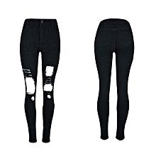 0a2908c75e6a Women  039 s Trousers Fashion Holes Skinny Thin Feet High Waist Stretch  Jeans-