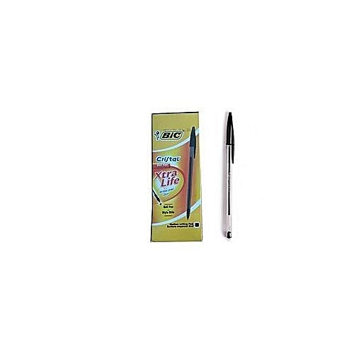25pcs Crystal Black Biro Pens