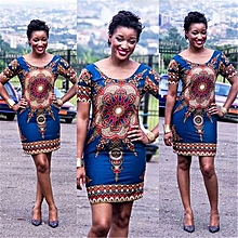 Womens African Print Short Sleeve Loose Dress