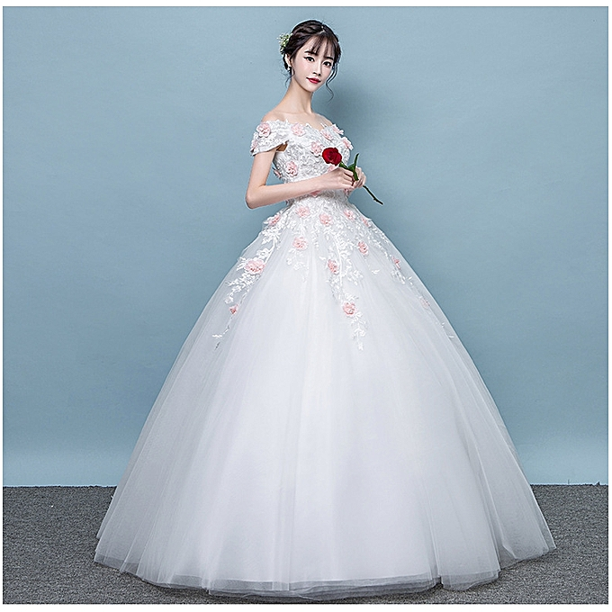 Geneafrica Lace Up Back Wedding Dresses With Flower Applique White
