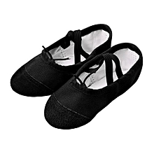 bluerdream-Canvas Ballet Pointe Dance Shoes Fitness Gymnastics Slippers For Kids Children- Black