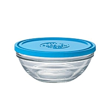 Lys Round Stack Bowl - 17cm - Clear with Blue Lid