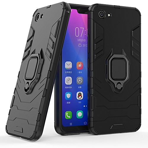 new style 81914 0425b For VIVO Y83 Armor Style Back Ring magnet phone Case cover with Kickstand  -Black