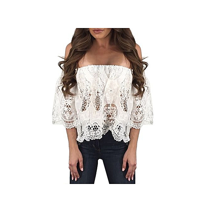 de3336bba09 Hiaojbk Store Women Sexy Off Shoulder Lace Hollow Out Loose Blouse Short  Sleeve Tops Shirt-