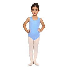 Kids Girl Round Neck Sleeveless Cross Back Strap Solid Dancing Eercising Leotard-Blue