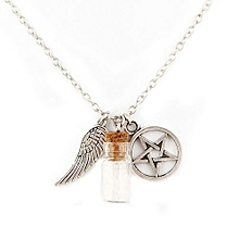 Supernatural Protection Necklace Angel Wing Pentagram Salt Bottle Pendant Chain Necklace Fashion Jewelry