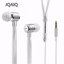 JQAIQ Shoelaces Earphone Stereo Sound Metal Bass Headphones Black