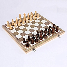 3 in 1 Folding Wooden Wood Chess Set Board Game Xmas Gift Checkers Backgammon [24*24cm]