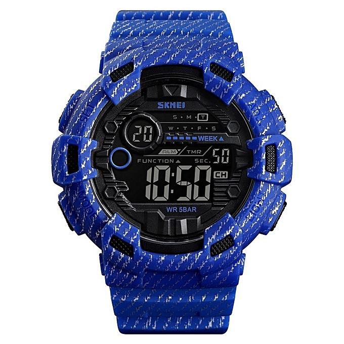 86f67d00fe6e Men Digital Watch Waterproof Chronograph Countdown Sport Wristwatch Luxury  Luminous Electronic Clock Reloj Hombre(Blue
