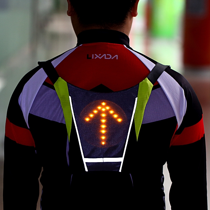 Cycling Usb Rechargeable Reflective Vest Backpack With Led Turn Signal Light Remote Control Outdoor Sport Safety Bag Gear For Cycling