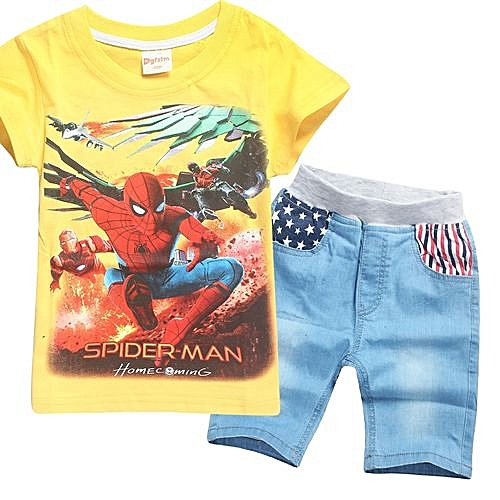 45bd6aee00c UNIVERSAL 1-10 Yrs Boys  2 Pieces Cotton Jeans Pant + T-shirts  (Color Yellow)