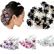 5Pcs Chic Engagement Wedding Shiny Rhinestone Hair Clips Rose Flower Hairpins