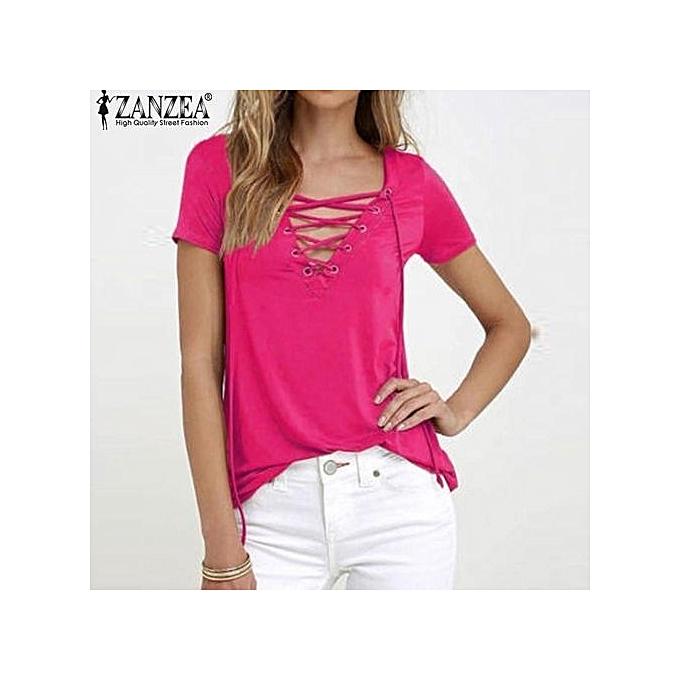 a99bd135216 ZANZEA New Arrival Blusas Femininas Shirt Women Blouses Summer Sexy Shirts V -Neck Lace Up