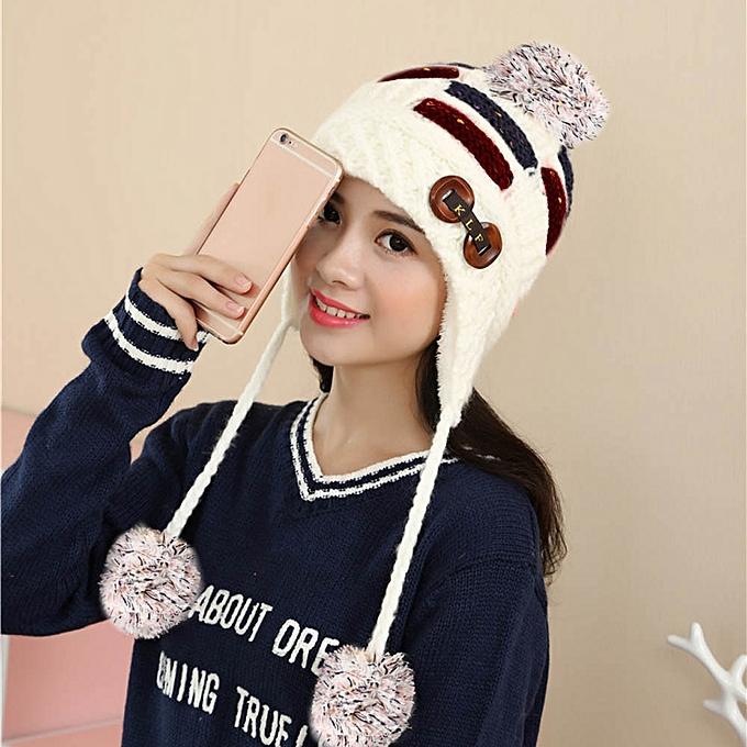 c4e24516374 ... singedanWomen Winter Warm Braided Crochet Wool Knit Hat Beret Ski  Beanie Ball Cap WH -White ...