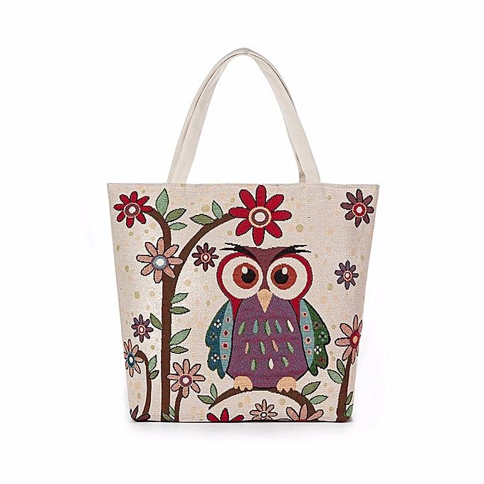Huskspo Owl Printed Canvas Tote Casual Beach Bags Women Ping Bag Handbags