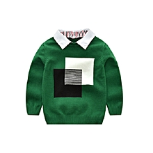 Kids Boys Collar Knitted Pullover Sweater Baby Cotton Stripe Cardigan (Age: 2 years )