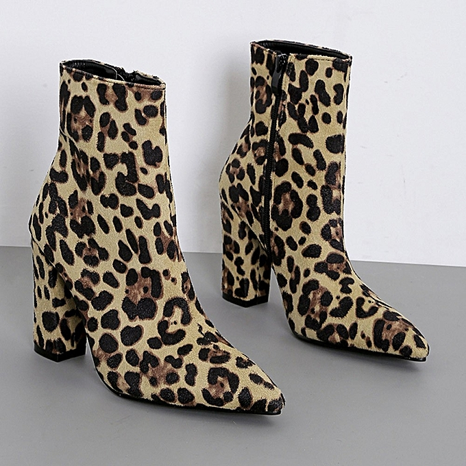 ae6fb327f5f02 hiamok Women Snakeskin Leopard Toe Zip Thick Pointed Boots Shoes High Shoes  Boots