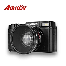 Re furbished AMKOV CD - R2 Digital Camera Video Camcorder with 3 inch TFT Screen with UV Filter 0.45X Super Wide Angle Lens-BLACK