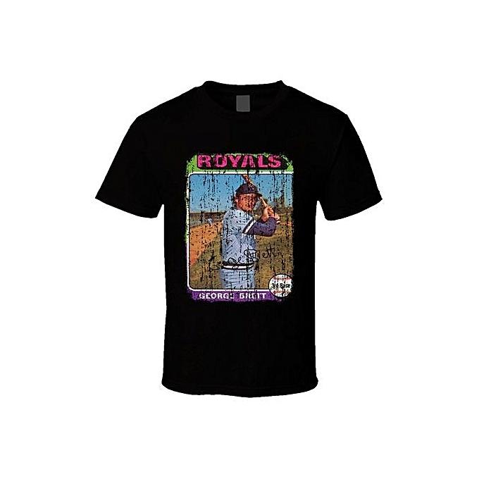 1975 George Brett Vintage Baseball Trading Card Cool T Shirt Fashion O Neck Short Sleeved T Shirts Summer Funny Loose Punk Tee Shirt For Men