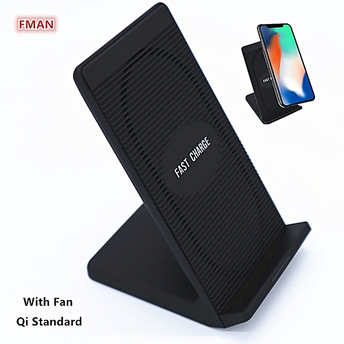0W Qi Wireless Charger Pad Fast Mobile Phone Wireless Charging Holder With  Fan For iPhone 8 X Samsung S6 S7 S8